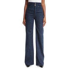 Marc Jacobs Striped High-Waist Wide-Leg Jeans ($395) ❤ liked on Polyvore featuring jeans, indigo, women's apparel pants, high waisted ripped jeans, distressed jeans, slim fit jeans, high-waisted jeans and high waisted distressed jeans