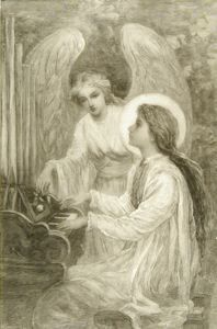 St. Cecelia, Frank French, not dated, wood engraving on rice paper,  9 1/4 in. x 5 15/16 in. Currier Museum of Art.