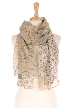 Love the soft pastels & mixed fabrics.   Jungle Scarf sold by Gypsy Outfitters - Boho Luxe Boutique