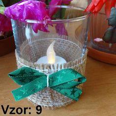 Svietnik sklenený s mašľou - Sviečka - S čajovou sviečkou LED (plus 1€), Vzor - Vzor 9