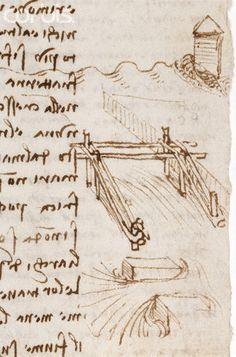 Detail Showing Bridge Construction Techniques from Codex Leicester by Leonardo da Vinci   #TuscanyAgriturismoGiratola