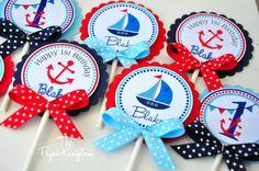 Toppers de Cupcake náutica náutica fiesta de cumpleaños