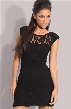 Black Jewel Lace Sheath Little Black Dresses