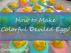 These colorful deviled eggs make for a beautiful Easter side! Easy to make.