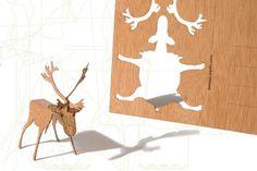Postkarten aus Holz - 3 Rentier Karten