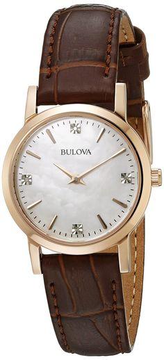 Amazon.com: Bulova Women's 97P105 Diamond Gallery Analog Display Japanese Quartz Brown Watch: Bulova: Watches