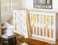 giraffe printed crib set