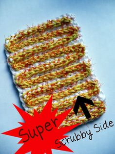 Crochet pattern: Double-sided dish scrubber using recycled mesh produce bags, with one side that is a little scrubby and the other is super scrubby!