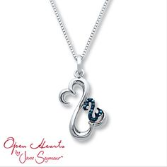 Open Hearts Necklace Blue Diamonds Sterling Silver. Big heart represents mother and little blue heart represents child. Love this!