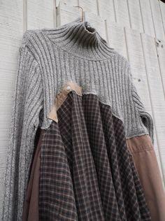 boho lagenlook romantic sweater dress / Upcycled by CreoleSha