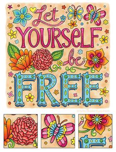 Let Yourself Be Free Coloring Page from More Good Vibes Coloring Book by Thaneeya McArdle