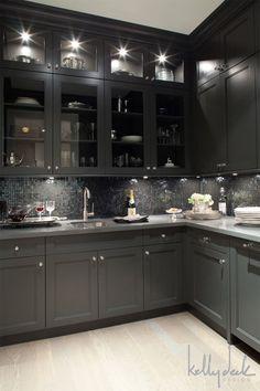 Dark cabinetry, light floors...