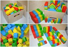 Купить Деревянный КОНСТРУКТОР из Кубиков и Геометрических Фигур - развивающие игрушки, белый, кубики, деревянный, Конструктор