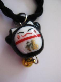 Lucky black cat maneki neko bell charm bracelet