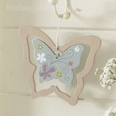 Hippy Chic Hanging Wooden Butterfly