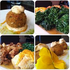 """<3 Cafe Blossom <3 West Village, NYC <3 Southern Fried Seitan Plate with Vegan Crab Cakes, Fresh Kale & a Vegan Cheesy Biscuit <3 from """"Will Travel for Vegan Food"""" <3"""