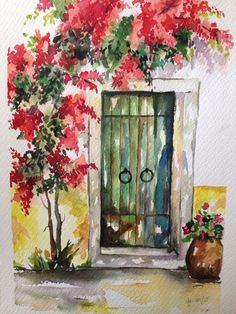 A Day Trip to Alaçatı - - Rebel Without Watercolor Architecture, Watercolor Landscape Paintings, Watercolor Flowers, Tattoo Watercolor, Watercolor Animals, Watercolor Background, Abstract Watercolor, Watercolor Cake, Watercolor Artists
