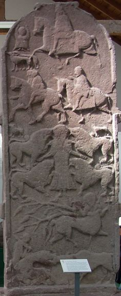 The Meigle Sculptured Stone Museum includes 27 carved Pictish stones in the village of Meigle, Scotland. Meigle Stone 2, shown here. Local folklore holds that the representation of Daniel in the lions' den depicts King Arthur's wife Guinevere, known locally as Vanora. Meigle 2 was originally located in the Meigle churchyard. The Picts were a Late Iron Age and Early Medieval Celtic people living in ancient eastern and northern Scotland.