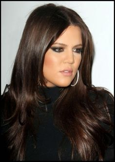 khloe kardashian hair,rich Chocolate Dark brown tones