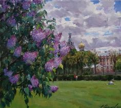 Personal site of artist Azat Galimov. Selling pictures.. Russian Painting, Great Paintings, Architecture Design, Landscape, Wall Art, Canvas, Gallery, Artist, Lilacs