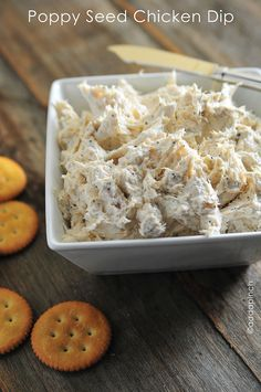 "Poppy Seed Chicken Dip: I so needed this recipe! My husband doesn't love poppy seed chicken, but I do! This would be good to satisfy my cravings without having to be an ""eat alone"" meal. Tapas, Chicken Dips, Chicken Recipes, Cream Cheese Chicken Dip, Yummy Appetizers, Appetizer Recipes, Dip Recipes, Cooking Recipes, Cooking Tips"