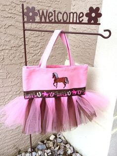 Pink and Brown Cowgirl Tutu Tote Bag with Horse  by tavatotes, $28.00