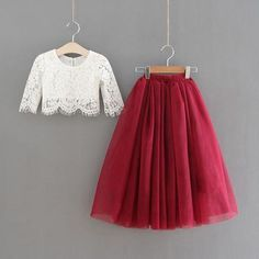 Sarah Lee 2 Pc Lace Top and Tulle Skirt Flower Girl Set Bold in Burgundy, this stunning two piece se Kids Frocks, Frocks For Girls, Dresses Kids Girl, Look Fashion, Girl Fashion, Fashion Dresses, Fashion Design, Frock Design, Ladies Dress Design