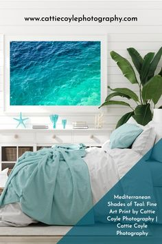 Ombré shades of blue, teal, cyan, turquoise, aquamarine and mint green in the Mediterranean Sea off the coast of the French Riviera. Prints come unframed and framed. Shipping to the US, Canada, Australia, New Zealand and EU. Coastal Wall Decor, Coastal Art, Beach House Bedroom, Bedroom Art, Coastal Bedrooms, Shades Of Teal, Water Photography, House Art, Green Art