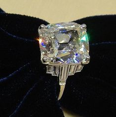 Art Deco Diamond Ring - Cushion cut weighing 5.05cts