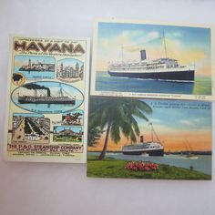 Vintage Havana Cuba P&O S.S. Florida Steamship Postcard Lot 3