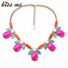 Factory Direct Sale 2014 New Arrival Trendy Resin Zinc Alloy 18k Gold Birthday Gift Bright Colorful Trendy Fruit Collar Necklace