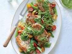 """<a href=""""/recipe/pork-medallions-scallions-magic-green-sauce"""">Pork Medallions with Scallions and Magic Green Sauce</a> 