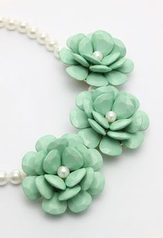 Mint Green Flower Pearl Necklace - Accessory - Retro, Indie and Unique Fashion