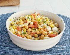 Cinco sentidos na cozinha: Salada fresca de grão, tomate e ovo