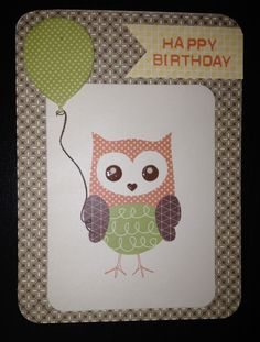 Owl Holding Balloon Vintage Style Happy Birthday Card. Close to my heart ctmh Babycakes picture my life