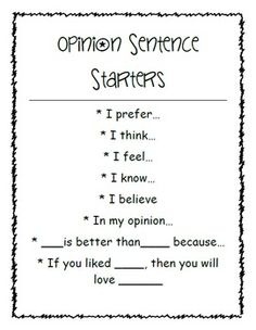 Opinion Writing Graphic Organizers and Sentence Starters