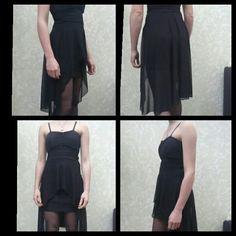 Cocktailjurk, zwart. Een korte jurk van voor en achter wat langer.  Een leuke jurk voor het gala. Bieden