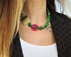 Unique handcrafted jewelry by NoufaroJewels Purple Necklace, Jade Necklace, Gemstone Necklace, Handcrafted Jewelry, Unique Jewelry, Chakra Necklace, Jade Green, Gifts For Her, Crochet Necklace