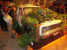 Seattle Garden Show (several years ago) - Display garden was made in/around/around an old truck. Even chickens were cooped/housed in the cab! from www.suntigerxo.blogspot.com