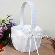Flower Basket - $19.99 - Butterfly Themed Flower Basket In White Satin And Lace(102018095) http://jjshouse.com/Butterfly-Themed-Flower-Basket-In-White-Satin-And-Lace-102018095-g18095