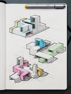 5 Top Architecture Student Visuals from August 2018 Conceptual Sketches, Conceptual Architecture, Architecture Concept Diagram, Architecture Student Portfolio, Architecture Sketchbook, Isometric Sketch, Architecture Blueprints, Industrial Design Sketch, Buildings