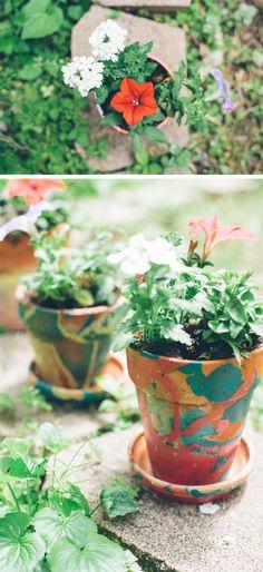 Nail polish marbled DIY planters - Henry Happened