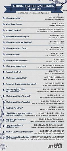 Infographic: how to ask someone's opinion in Japanese