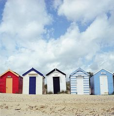 England, Southwold, Row of beach huts