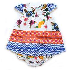 Vestido Chevron Floral Baby - CutiCutiBaby - Roupas e Acessórios para bebês e crianças