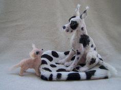 OOAK Realistic Miniature Great Dane Arlekin & by malga1605 on Etsy