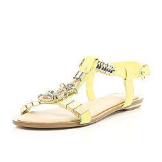 Lime jewel detail T-bar sandals $70.00