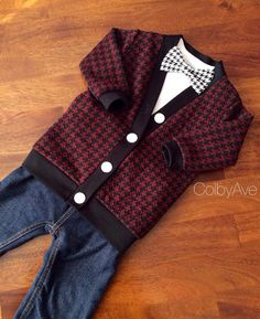 Black and Red Cardigan Bow Tie Set, Baby Cardigan Bow Tie, Boy's Cardigan, Child Sweater, Toddler Cardigan, Toddler Boys, Toddler bowtie set...