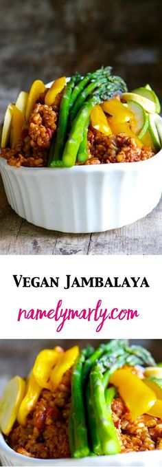 The best ever Vegan Jambalaya made with brown rice, spicy flavoring, and lots of delicious healthy vegetables. You'll come back for this easy dish time and time again. It's a family favorite recipe!