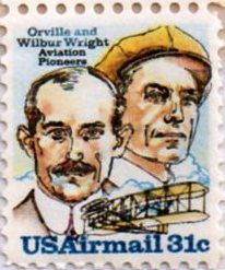 US Airmail 31 cent stamp.  Orville and Wilbur Wright - Aviation Pioneers.  Issued 1978.  Scott catalog C91.